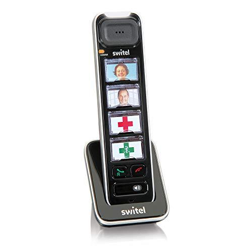 Switel D11 Vita Comfort, zusätzliches DECT Mobilteil für die Vita Comfort-Serie mit Ladeschale, Fototasten, hörgerätekompatibel