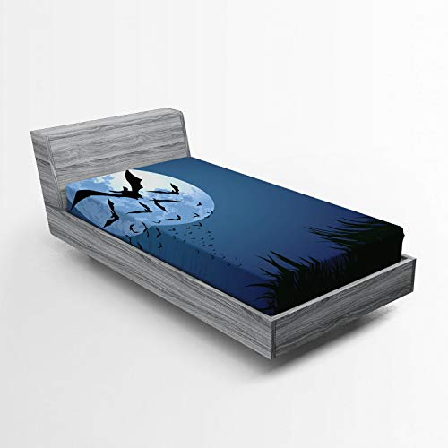 ABAKUHAUS Víspera de Todos los Santos Sábana Elastizada, Nube de murciélagos Volando, Suave Tela Decorativa Estampada Elástico en el Borde, 90 x 190 cm, Noche Azul Negro Gris