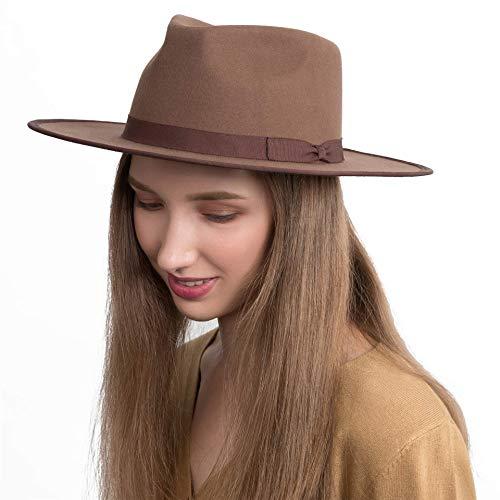 Fedora for Men Women 100% Wool Felt Outback Panama Hat Classic Band Wide Brim Adjustable Coffee Medium