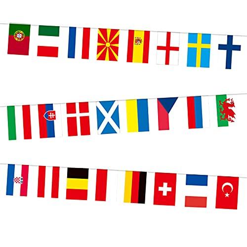 JeoPoom Guirlande Drapeaux du Monde Coupe d'europe[24 Pays], Drapeaux Européens, Bunting Decorative Teams Flag, pour Clubs Sportifs, Bar, Décorations du Parti(1 Paquet)