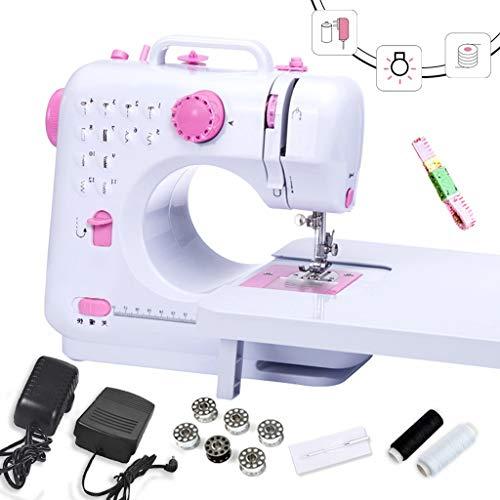 MTXD Naaimachine beginners, wit roze mini-naaimachine Two-Speed met spoelen en naaigaren nachtlampje gebruik 's nachts -1.7
