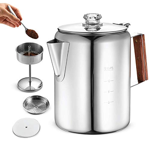 Eurolux Percolator Coffee Maker Pot - 12 Cups | Durable Stainless Steel Material | Brew Coffee On Fire, Grill or Stovetop | No Electricity, No Bad Plastic Taste | Ideal for Home, Camping & Travel