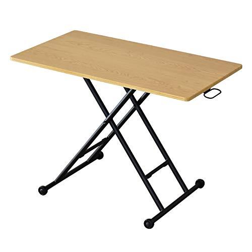DORIS 昇降テーブル ガス圧 無段階 昇降式 リフティングテーブル 木製天板 幅100 奥行55 高さ11.5-70 完成品 ナチュラル ミランダ 100cm