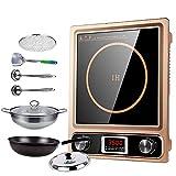 Placa de inducción, Cocina de inducción portátil de 3500 W, Placa de Panel de Cristal Negro con Pantalla LED Placa de Cocina eléctrica portátil, Control táctil con Sensor, B (Color: B) fengo