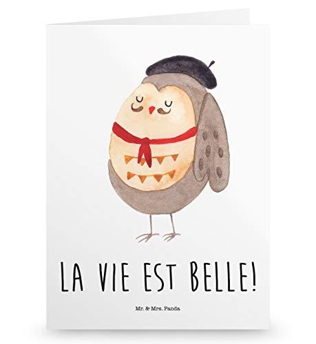 Mr. & Mrs. Panda Geburtstagskarte, Glückwunschkarte, Grußkarte Eule Französisch mit Spruch - Farbe Weiß