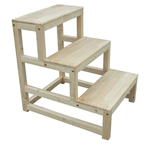 C-J-Xin Las escaleras de madera sólida, Segundo Piso Escalera del taburete de tres plantas marco de la escalera/Sólido Material Madera/Madera Clara Granos / 2 Estilos Escalera de casa