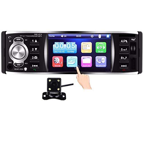 GOFORJUMP Autoradio Autoradio 1 Din 12v 4.1 Pouces Écran Tactile Auto Audio Miroir Lien RDS Bluetooth Vue Arrière Caméra Stéréo De Voiture