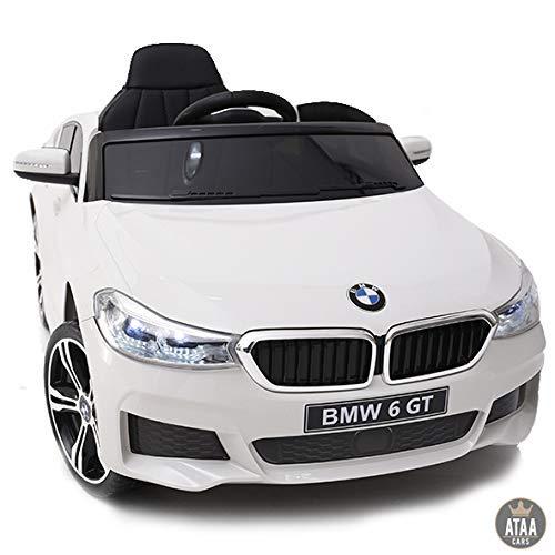 ATAA BMW 6 GT Licenciado 12v - Blanco - Coche eléctrico para niños batería 12v con Mando Control Remoto Padres