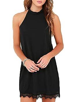 Fantaist Women s Halter Neck Scalloped Lace Trim Casual Mini Little Black Dress  S FT610-Black