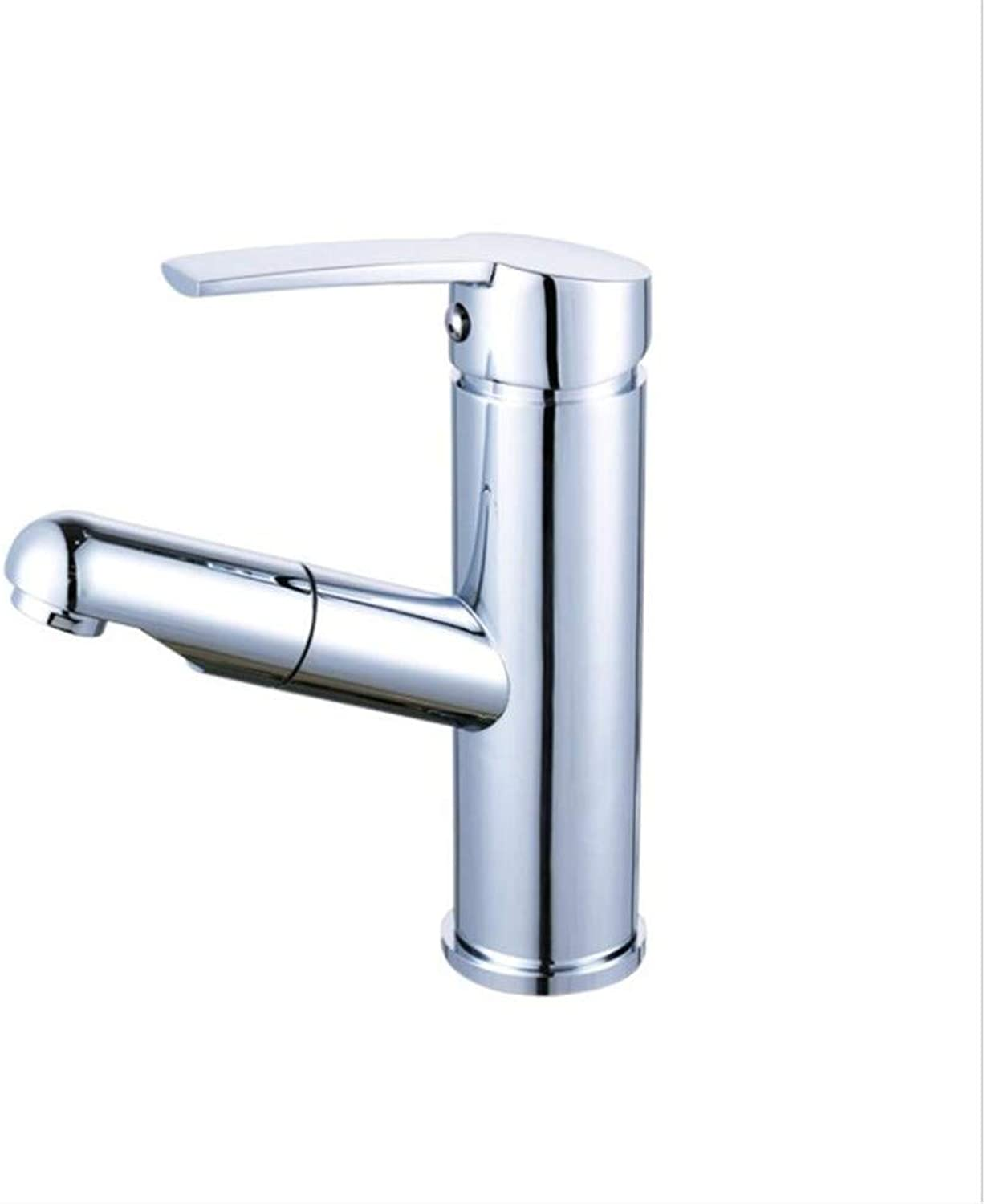 Modernsltbathroom Sink Basin Lever Mixer Tap Draw Up and Down Copper Basin Faucet, Bathroom Cabinet Faucet, Telescopic Cold and Hot Water Faucet
