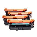 Cartucho compatible para HP CE250A Reemplazo para HP Color LaserJet Pro CM3530 CM3530fs CP3525 CP3525dn CP3525N Impresora, cartuchos Cuatro colores para elegir con chip-set