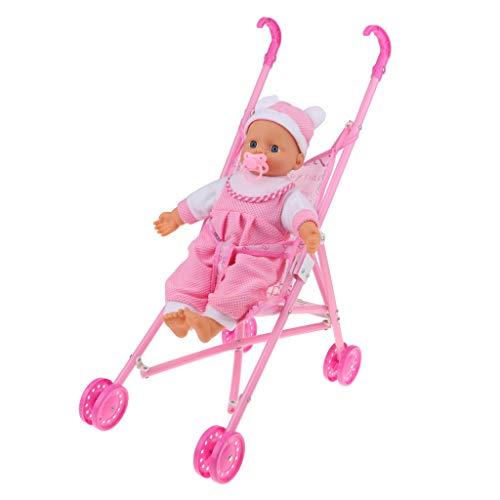 Hellery Reborn Baby Furniture Playset - Muñeca de Vinilo para Niños Pequeños Y Carrito Plegable