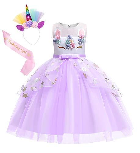 AmzBarley Meisjes Eenhoorn Feestjurk Tule Bloemen Prinses Jurk Kids Halloween Verjaardag Avond Optocht Fancy Dress Up…