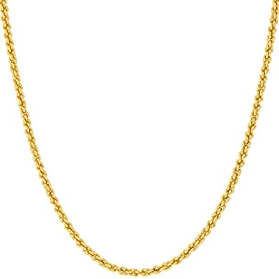 Lifetime Jewelry 1mm Rope Chain Necklace 24k Real Gold Plated for Women and Men with Free Lifetime Replacement Guarantee