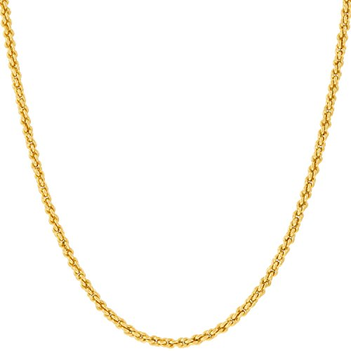 Lifetime Jewelry Gold Chain Necklace Jewelry for Women & Men [1mm Rope Chain] – Up to 20X More 24k Plating Than Other Pendant Necklaces Chains – Yellow or White Gold (20.0, yellow-gold-plated-base)