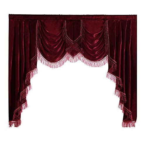 "NAPEARL Polyester Satin Curtain Valance (Burgundy, 1 Valance 61""W x 49"" L)"