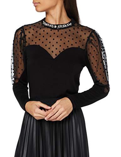 Morgan T-Shirt Manches Longues Plumetis Tepoi Camiseta, Negro, TL para Mujer