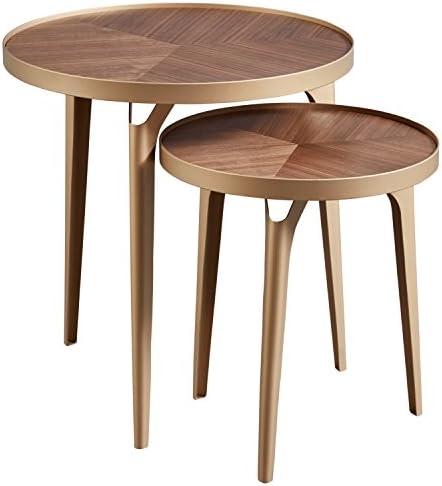 Best Amazon Brand – Rivet Mid-Century Nesting Metal Side Table, Set of 2, Brass and Walnut