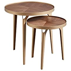 Add mid-century modern flair to your room with these wood and brass nesting tables. Wood-grain patterning and retro tapered legs add visual interest. They're ideal for serving snacks to guests, but compact and stackable when you need to save space. (...