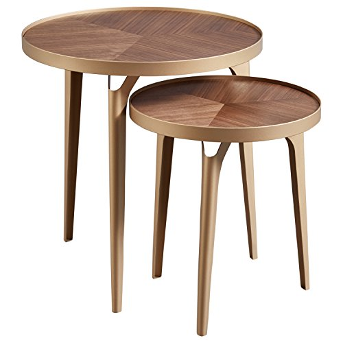 Amazon Brand – Rivet Mid-Century Nesting Metal Side Table, Set of 2, Brass and...