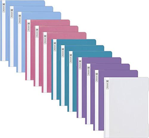 13 Brunnen Schnellhefter A4 farbig sortiert PP-Folie glasklares Deckblatt [ Pastell Edition ]