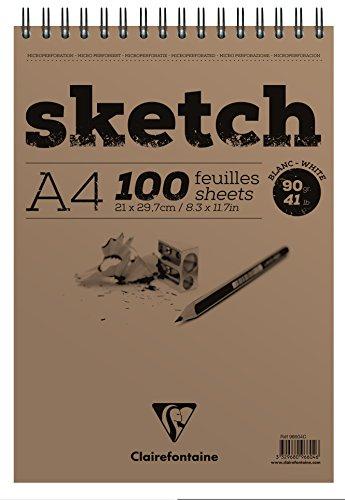 Clairefontaine 96604C Skizzenblock mit Doppelspirale Sketch-Papier, Din A4, 21 x 29.79 cm, 100 Blatt, 90 g, weiß