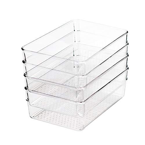 Klar Pantry Gefrierschrank Organizer und Lagerplätze Transparent Aufbewahrungsbehälter aus Kunststoff Kühlschrank Lagerung Fall Korb mit Griffen 4 Stück