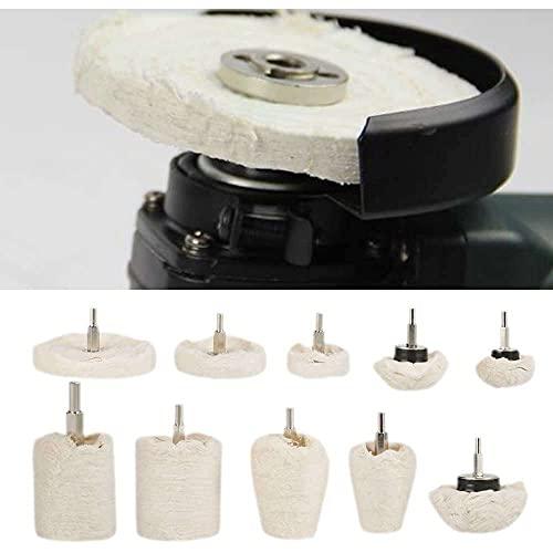YuKeShop Rueda de pulido, 10 piezas de diferentes fregonas de pulido kit de almohadilla de rueda para metal aluminio, acero inoxidable, cromo, joyas, madera, plástico, cerámica, vidrio, etc.