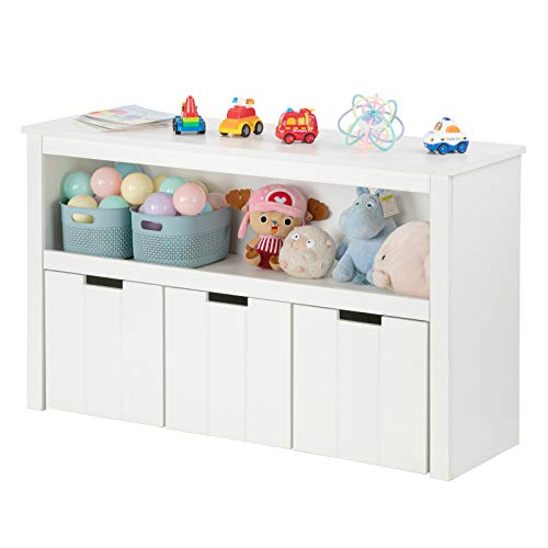 JOYMOR Kids Toy Storage Cabinet, 3 Rolling Toy Box and Large Storage Cube Shelf, Book Storage Shelves Chest Cabinet for Playroom, Bedroom, Reading Nook, Toddler's Room, Nursery, White