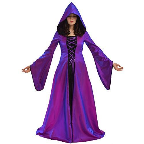 BLESSUME Medievale Donne Allacciare Festa Toga Bagliore Manica Vestito Cosplay Fantasia Cappuccio Lungo Vestito (Viola, M)