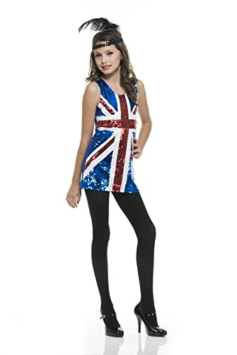 Charades British Sequin Girl's Costume Dress, Medium