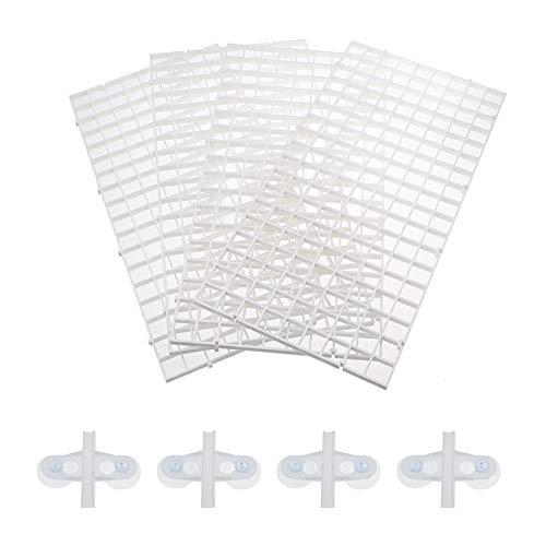 SENZEAL 4 Stück Aquarium Trennwand - Aquarium Fisch Tank Grid Isolation Divider Filter Tablett Board für Aquarium mit 4 Aquarium Divider Saugnapf (Weiß)