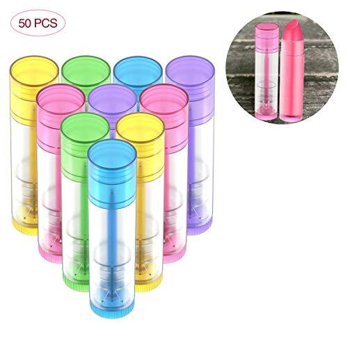OZAUR 50 Stück Leer Lippenstift Lippenpflege Leere Behälter 5g Kunststoff Lippen Balm Tubes Container für DIY Hausgemachte Lippenbalsams Nachfüllbar mit Kappe (Bunt)