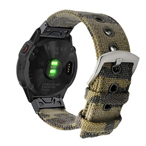 YOOSIDE Fenix 5X Plus/Fenix 6X QuickFit Armband, 26mm Segeltuch Tarnen Edelstahl Schnellverschluss Ersatzarmband Uhrenarmband für Garmin Fenix 5X/5X Plus/3,Quatix 3,Tactix Charlie,Tarnen