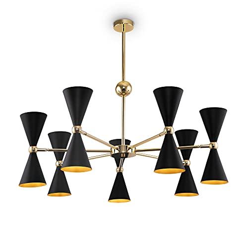 Vesper - Lámpara de techo moderna para 14 lámparas en color negro y dorado de metal para el salón excluido, 14 x E14, 40 W, IP 20 230 V