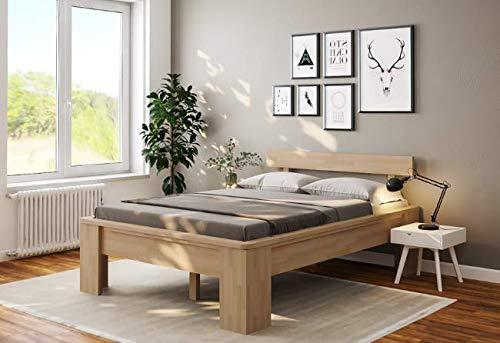 Doppelbett Komfortbett Buche 180x200 Holzbett erhöhte Liegefläche Bett Ehebett-...