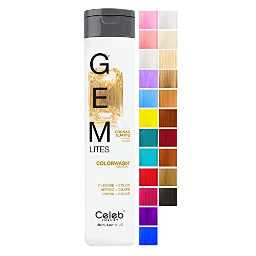 Celeb Luxury Gem Lites Colorwash, Professional Semi-Permanent Hair Color Depositing Shampoo, Cognac Quartz
