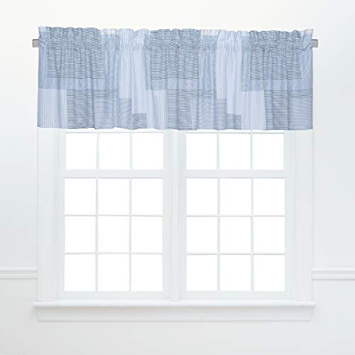 C&F Home Asher Stripe Blue Coastal Nautical Lake Patchwork Cotton Bedroom Guestroom Premium Window Valance Set of 2 Valance Set of 2 Blue