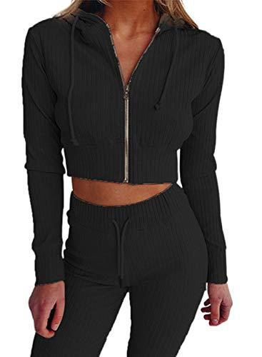 LOSRLY Damen 2 Stück Outfits Sets Stricken Jumpsuit Kordelzug Hoodie Reißverschluss Crop Top Lange Skinny Pants Loungewear Set Gr. 38, Schwarz