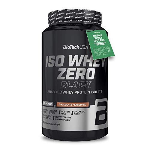 BioTechUSA Iso Whey Zero Black Proteinpulver, mit 90{0730a5367984930e9555c4465b93061238507662be4802ca69c2c49da21d35fb} Proteingehalt aus Molkenprotein-Isolat, mit extra Kreatin, Aminosäuren, Zink und Vitamin B3, 908 g, Schokolade