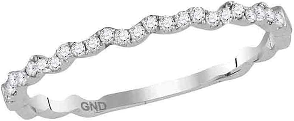 10kt White Gold service Womens Round Asymmetrical Band Stackable High quality Diamond