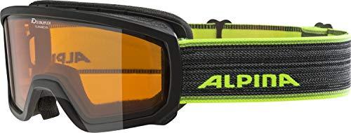 ALPINA SCARABEO JR. Skibrille, Kinder, black-neon, one size