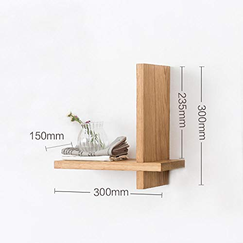 Drijvende Planken, Houten Decoratief, Drijvende Plank Slaapkamer Woonkamer, Home Decor Plant Plank Foto Richel, Drijvende Opslag Plank,Wit Eikenhouten Rek 300 * 300 * 150 Mm-Eik/Plank Dikte 20 Mm