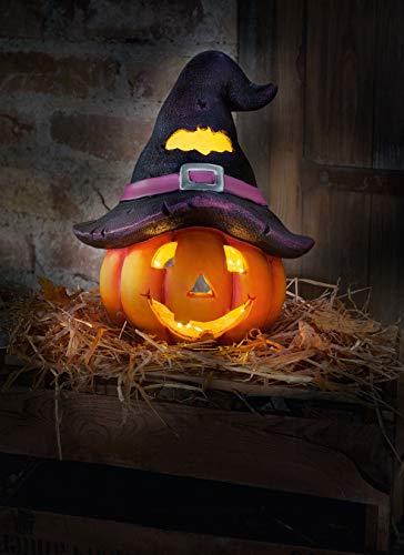Dekoleidenschaft Halloween Windlicht Hexenhut für Innen + Außen, 33cm hoch, Gruselkürbis, Herbst-Deko, Laterne