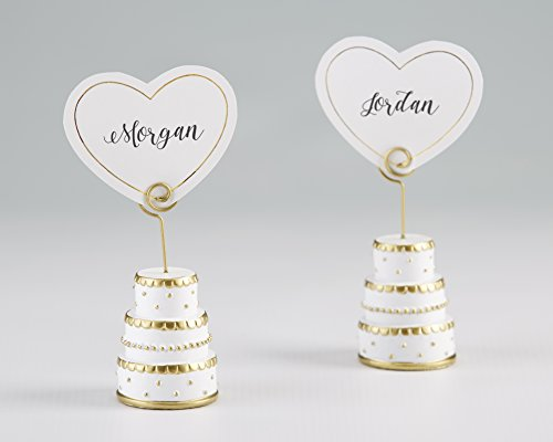 Kate Aspen, Gold Wedding Cake Place Card Holder (Set of 6), perfect for Wedding Favors & Party Decors