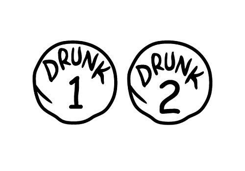 Drunk Thing 1 Thing 2 Funny Decal Vinyl Sticker|Cars Trucks Vans Walls Laptop| Black|7.5 x 3.5 in|DUC1196