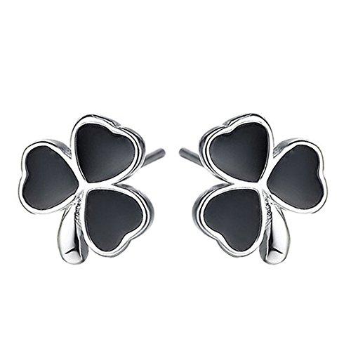Pendientes de tuerca para mujer, chapados en plata de ley 925, diseño vintage de ágata de ónix negro con tres tréboles