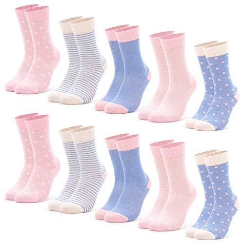 Occulto 10 Paar Damen Socken mehrfarbig mit Streifen, Punkte, Herzen & Weihnachts-Motiven | Süße Baumwoll Damensocken in verschiedenen Mustern für Winter & Sommer (39-42, Pink-Hellblau)