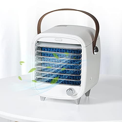 SmartDevil Aire Acondicionado Portatil, Aire Acondicionado USB, Enfriador evaporativo con Bandeja de Hielo, Mini Ventilador, para el hogar/Oficina/habitación, Super Silencioso(Blanco)