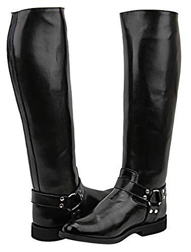 FAMMZ Casper Harness Men's Man Motorcycle Police Leather Fashion Stylish Tall Riding Boots Color - Black 8 Slim Calf